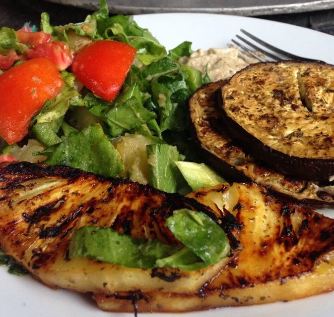 salad with grilled pineapple and eggplant