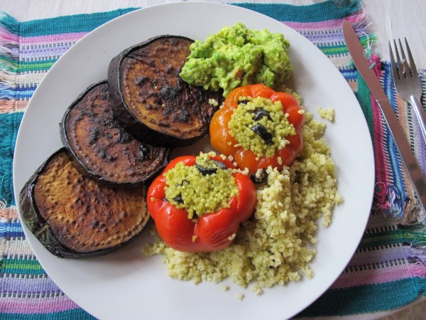 stuffed peppers with guacamole and grilled eggplant